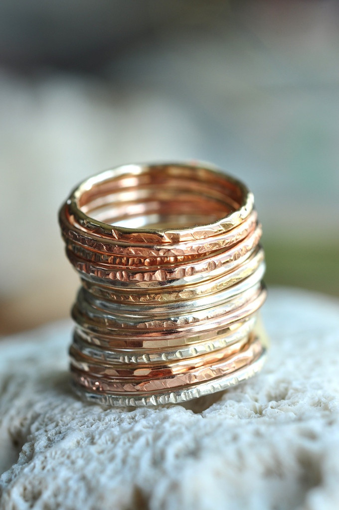 skinny textured stacking ring set of 5 in sterling silver, gold and rose
