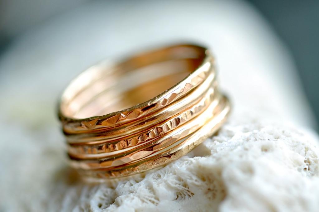 skinny 14k gold filled stacking rings