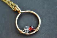 mother's grandmother's birthstone necklace 3 stones genuine gemstones