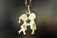 boy girl kissing stamped initial necklace 14k gold filled