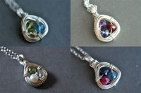 FAMILY NEST mother's grandmother's 3 birthstone necklace sterling silver