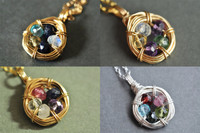 FAMILY NEST mother's / grandmother's birthstone necklace 5 stones genuine gemstones 14k gold filled