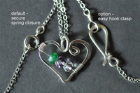 OPEN HEART custom mother's birthstone necklace (3 stones)