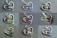 mothers grandmothers birthstone heart necklace genuine gemstones 4 four stone - muyinjewelry.com