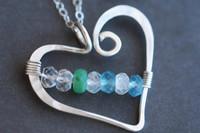 mothers birthstone heart necklace genuine gemstones