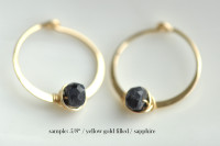 "5/8"" gold hoops with sapphire"