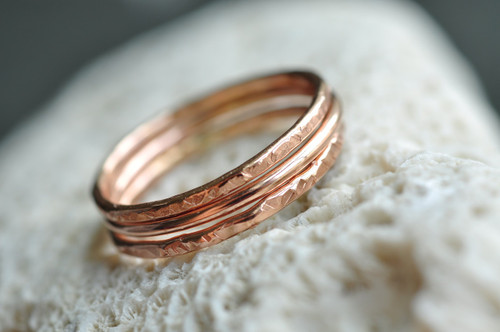 set of 3 stacking rings in 14k rose gold filled