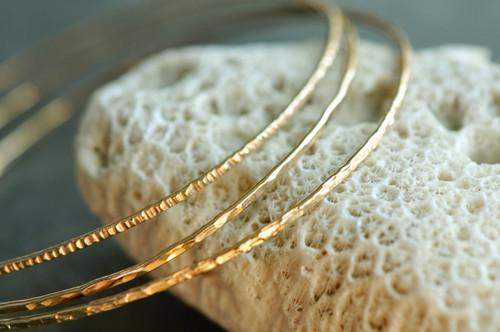 14k gold filled textured skinny bangle set