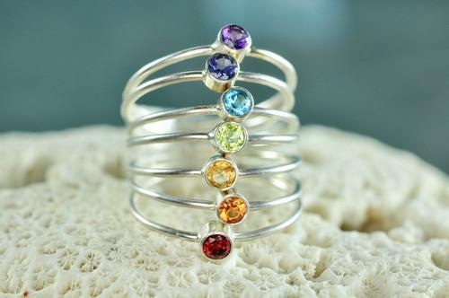 chakra rings, rainbow stacking ring set | muyinjewelry.com