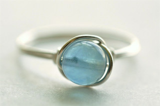 OCEAN DROP blue fluorite wire wrap ring