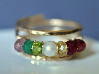 Mother's Grandmother's Birthstone Ring adjustable 5, 6, or 7 stones