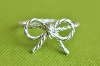 sterling silver bow ring twisted wire
