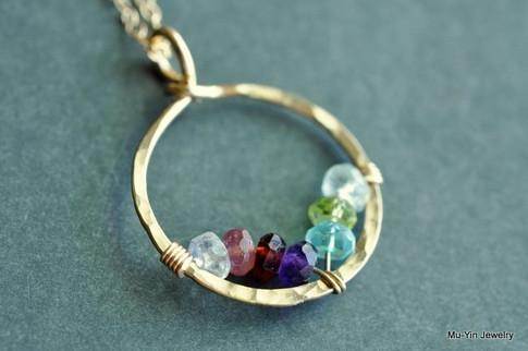 mother's grandmother's birthstone necklace 7 stones genuine gemstones