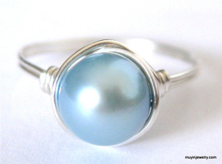 FINGER CANDY wire wrapped pearl ring - choose from 22 colors