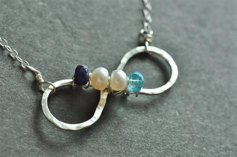 infinity mother's birthstone necklace genuine gemstones