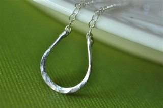tiny lucky horseshoe necklace sterling silver