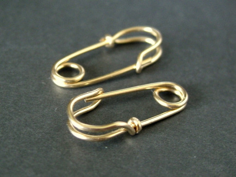 MINI SAFETY PIN earrings 14K solid gold