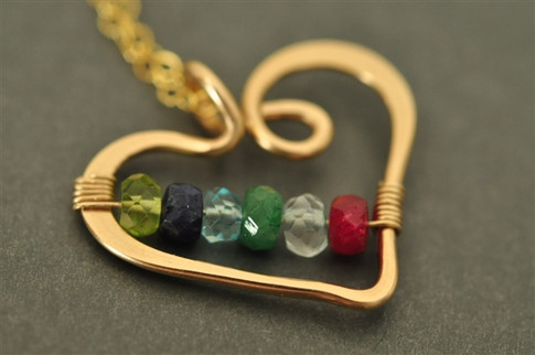 mothers grandmothers birthstone heart necklace genuine gemstones 6 stone - muyinjewelry.com