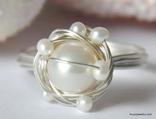 artisan freshwater pearl wire wrap bird nest ring - muyinjewelry.com