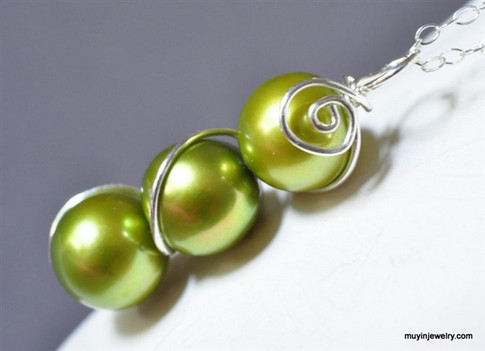 simple three freshwater pearl necklace custom color - muyinjewelry.com