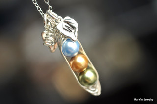 PEAS IN A POD necklace with Custom Colors and Initial Leaf charms  - Swarovski Elements glass pearls, sterling silver