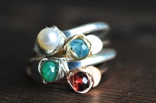 adjustable gemstone ring -staking ring - birthstone ring - muyinjewelry.com