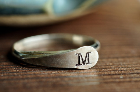 adjustable initial ring - custom stamped initial - muyinjewelry.com