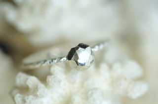 sterling silver faceted ball ring, fake diamond ring, stacking ring