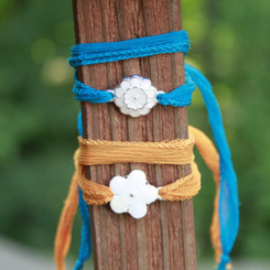 flower power breast milk wrap bracelet.