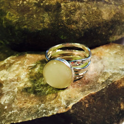 stacked sterling breast milk ring.