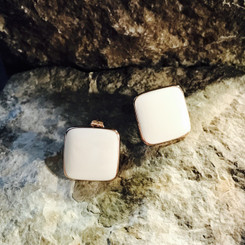 rose gold square breast milk earrings.