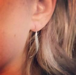 sterling leaf drop earrings