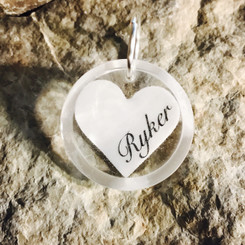 breast milk pendant with name.