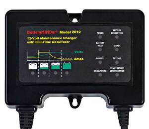 BatteryMINDer Model 2012: 12 Volt 2 Amp (12V 2A) Charger/Maintainer/Desulfator