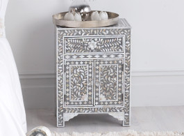 Grey & Mother of Pearl Inlay Bedside Table
