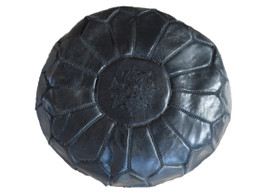 Moroccan Leather Pouffe in Charcoal