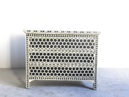 Black Bone Inlay Chest Of 3 Drawers, Honeycomb Design