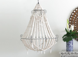 Marbella Beaded Chandelier in White, Large