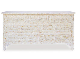 White & Mother Of Pearl Inlay Chest Of Drawers, Large