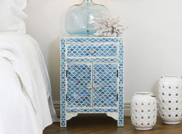 Ocean Blue Marrakech Bone Inlay Bedside Table