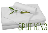 Split King Bamboo Sheet Set in White