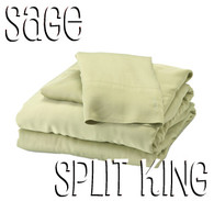 Split King Bamboo Sheet Set in Sage Green