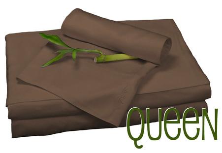 Queen Bamboo Sheet Set in Mocha Brown, Eco Friendly Hypoallergenic