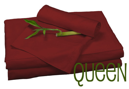Queen Bamboo Sheet Set in Catenne Red, Eco Friendly Hypoallergenic