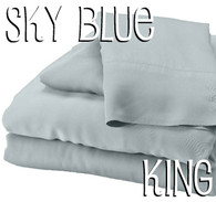 King Size Bamboo Sheet Set in Sky Blue