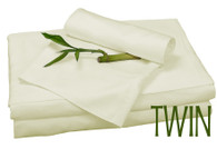 Twin Bamboo Sheet Set in Ivory, Eco Friendly Hypoallergenic