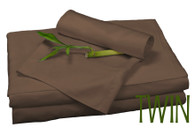 TWIN BAMBOO SHEET SET IN Mocha Brown, ECO FRIENDLY HYPOALLERGENIC