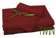 TWIN BAMBOO SHEET SET IN Cayenne Red, ECO FRIENDLY HYPOALLERGENIC