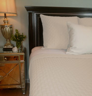 Ivory Bamboo Quilted Coverlet in King or Queen Hypoallergenic