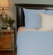 Sky Blue Bamboo Quilted Coverlet - Queen or King - Hypoallergenic